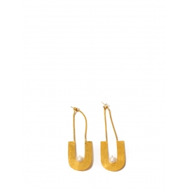 Boucles d'oreille en plaqué or martelé et perle blanche Prix boutique 280€