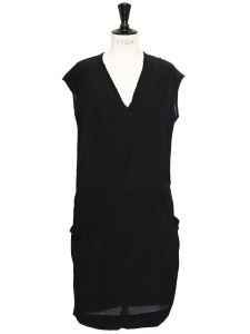 Black silk V neck sleeveless light dress Size 36
