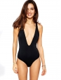 Black open back and braided straps one piece swimsuit Size 38