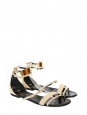 Janis flat sandals in nude leather and gold-toned metal plaque Retail price €1020 Size 41,5