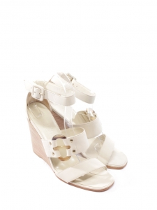 Mary Maillons cream white smooth leather ankle strap wedge sandals Retail price €680 Size 38