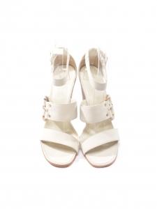 HERMES · Sandales Mary Maillons à talon compensé en cuir blanc crème ... fe491bdb9fc