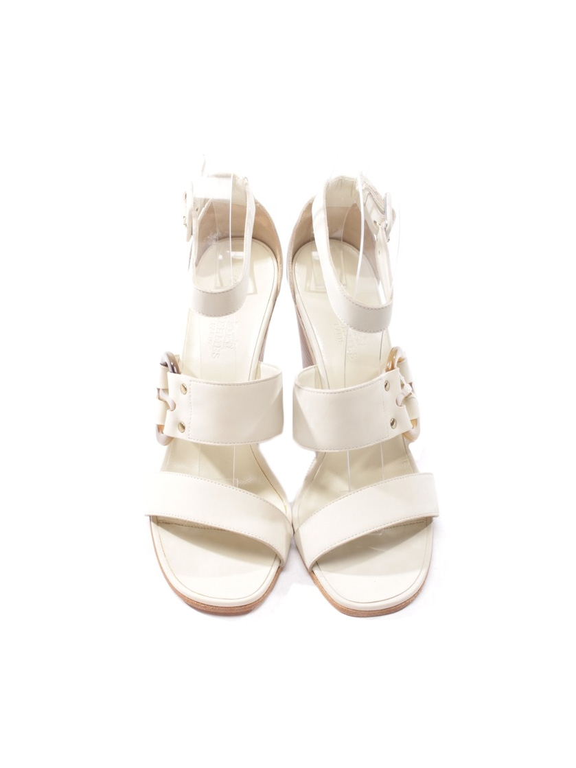 Louise Paris Hermes Mary Maillons Cream White Smooth Leather Ankle Sandal Strape On Strap Wedge Sandals Retail Price 680 Size 38
