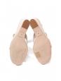 Sandales Mary Maillons à talon compensé en cuir blanc crème Prix boutique 680€ Taille 38