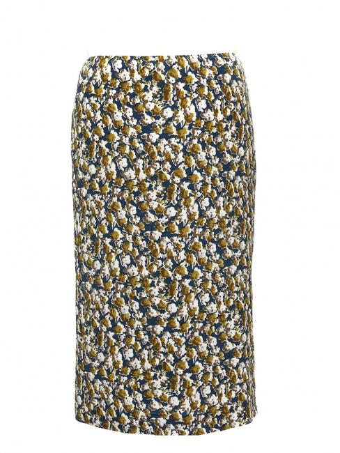 Jupe midi en soie imprimée fleurie bleu vert, blanc, ocre et marron Prix boutique 700€ Taille 36