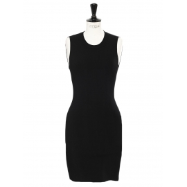 Open back sleeveless fitted black knit dress Retail price €350 Size S
