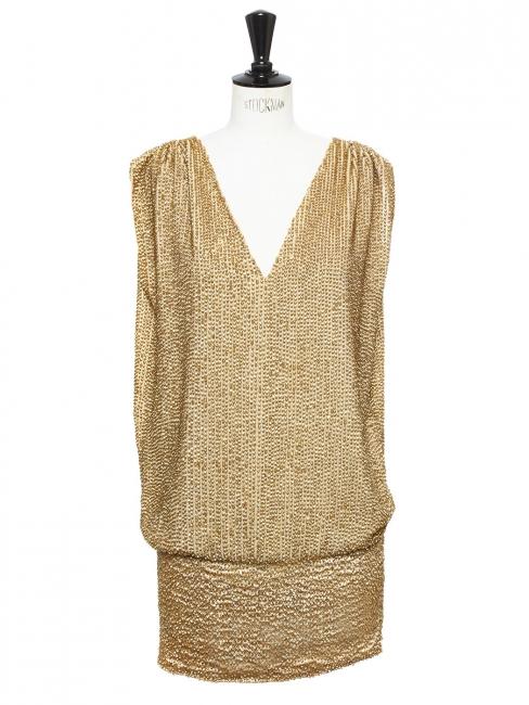 171ba77f9af097 Fillmore gold sequin open back mini cocktail dress Retail price €860 Size 36