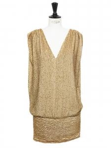 Robe de cocktail Fillmore dos nu brodée de sequins dorés Prix boutique 860€ Taille 36