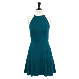 Zion blue green open back cinched flared skater dress Retail price $198 Size XS