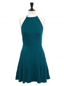 Blue green open back cinched flared skater dress Retail price $198 Size XS