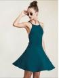Robe dos nu cintrée et évasée en jersey bleu vert Prix boutique $198 Taille 34