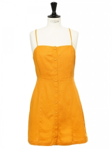 Open back sunflower yellow linen mini dress Size 36