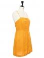 Robe courte dos nu en lin jaune tournesol Taille 36