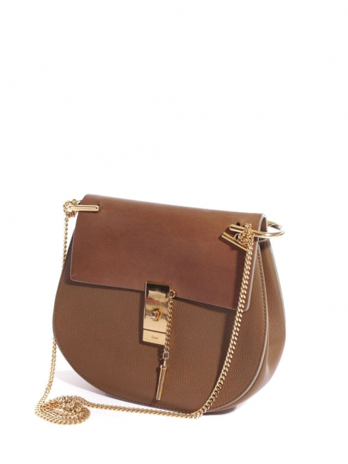 447028d0fd DREW Camel brown bi-material leather bag with gold chain Retail price €1500