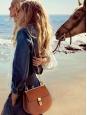 Sac DREW en cuir bi-matière camel noisette et chaîne dorée Prix boutique 1500€