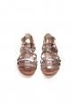 Sandales plates gladiator en cuir noisette et argent Px boutique 550€ Taille 38