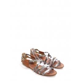 Sandales plates gladiator en cuir noisette et argent Prix boutique 550€ Taille 38