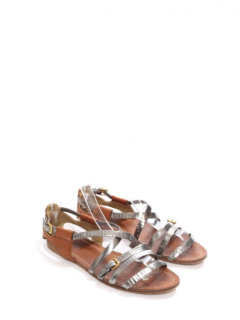 Silver and nutmeg brown leather flat gladiator sandals Retail price €550 Size 38
