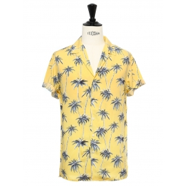 Yellow cotton printed with blue palm trees short sleeved Hawaiian shirt Size M