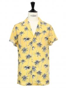 Chemise hawaïenne manches courtes en coton jaune imprimé palmier bleu Taille M