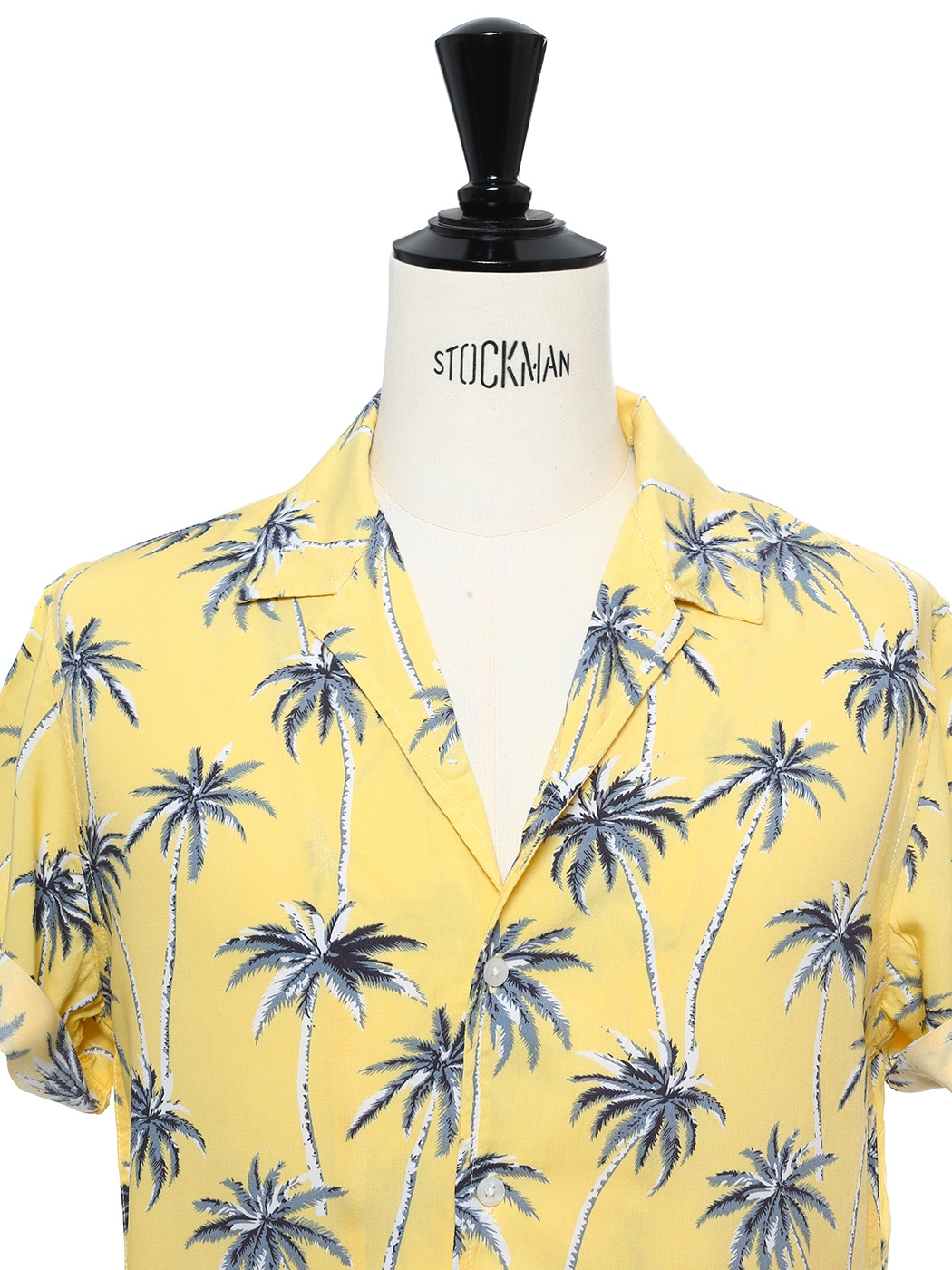 d5812678 ... Yellow cotton printed with blue palm trees short sleeved Hawaiian shirt  Size M ...