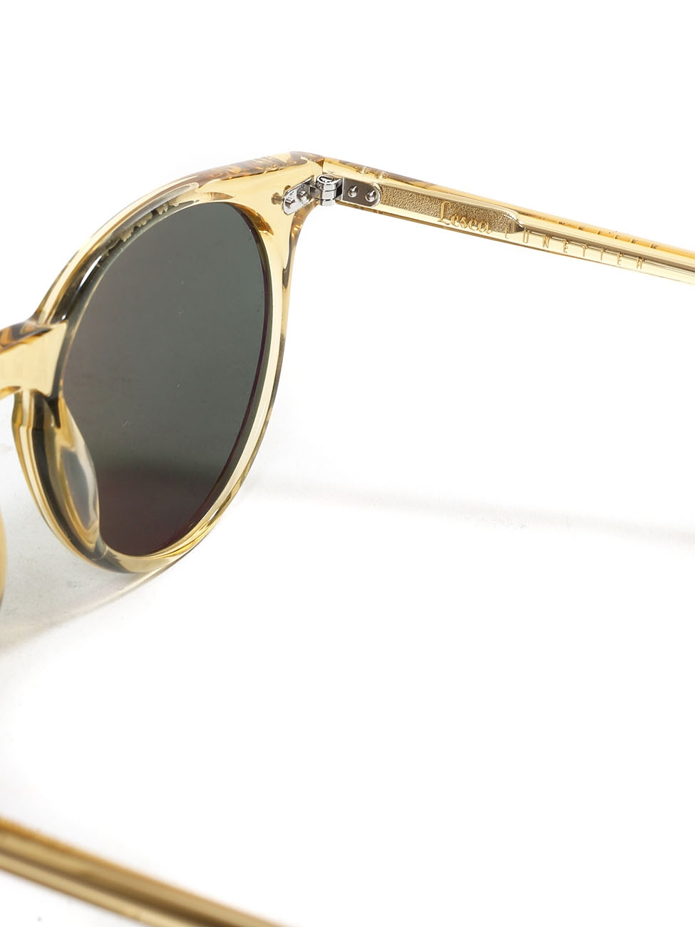 edc275076049 Louise Paris - LESCA LUNETIER P9 round luxury amber yellow frame sunglasses  with bottle green lenses Retail price €260 NEW