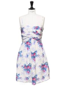 Robe bustier à fines bretelles en mousseline de soie fleuri bleu blanc et violet Prix boutique 300€ Taille 38
