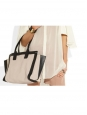 ALISON medium beige pink and black leather tote handbag Retail price €1100