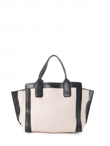 ALISON medium beige pink and black leather tote handbag Retail price €1100