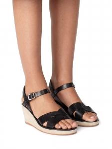 Sandales compensées JUDITH en daim ecru et cuir noir NEUVES Prix boutique 295€ Taille 39