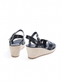 Black leather and ecru beige suede wedge sandals NEW Retail price €295 Size 39