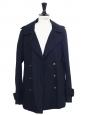 Veste paletot GAMBEY à boutonnage croisé en coton bleu nuit Prix boutique 300€ Taille 36