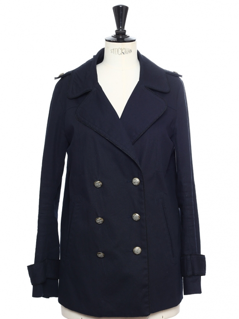 GAMBEY Midnight blue cotton double-breasted jacket Retail price €300 Size S