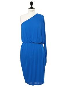 Robe de cocktail asymétrique en jersey bleu océan Prix boutique 700€ Taille 36