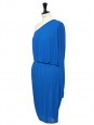 Ocean blue jersey one-shoulder asymmetrical cocktail dress Retail price €700 Size 36
