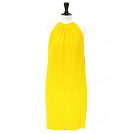 Bright yellow silk sleeveless cocktail dress Retail price €2000 Size 34