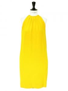 Robe de cocktail en soie jaune vif épaules dénudées Px boutique 2000€ Taille 36