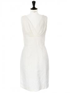 Robe sans manches en coton jacquard blanc crème Px boutique 300€ Taille 40/42