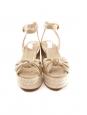 Sandales espadrilles compensées en toile beige et doré Taille 37