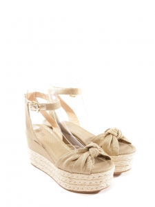 Gold and beige espadrilles wedge sandals with ankle strap Size 37
