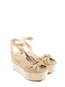 Sandales espadrilles compensées en toile beige et doré ... 82b8937a78c7