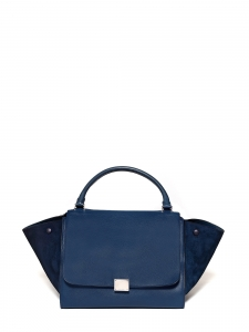 Medium size blue grained and suede leather TRAPEZE handbag with strap Retail price €2200