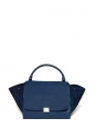 Large size blue grained and suede leather TRAPEZE handbag Retail price €2400