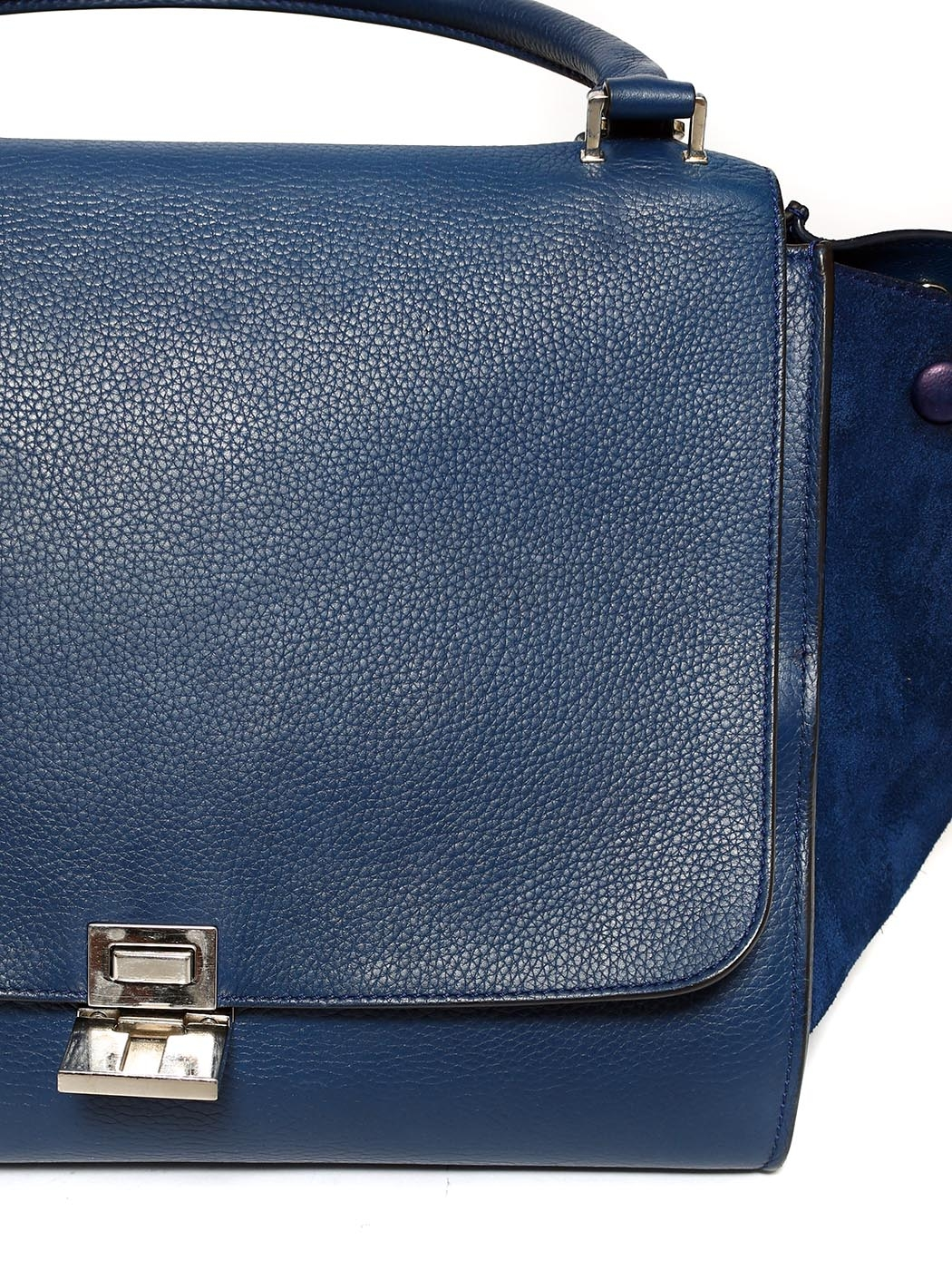 95cba8f7b0 ... Medium size blue grained and suede leather TRAPEZE handbag with strap  Retail price €2200 ...