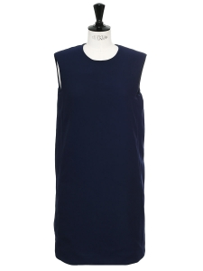 Navy blue sleeveless round neck sheath dress Retail price €1000 Size 36