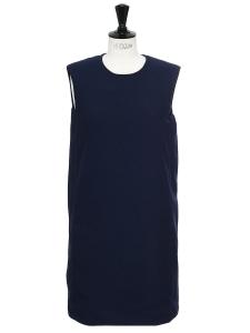 Robe droite en crêpe bleu marine Prix boutique 1000€ Taille 36