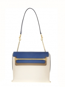 Sac medium CLARE en cuir bleu, blanc et marron Px boutique 2250€