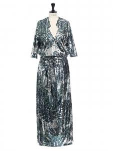 Robe JELINA de soirée longue brodé de sequins argent et vert Prix boutique 295€ Taille XS