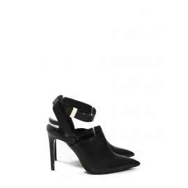 Black leather pointy toe ankle strap pumps Size 38