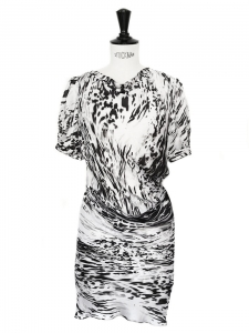 Black and white graphic print silk draped dress Retail price €1400 Size 36